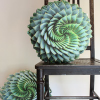 Spiral Succulent decorative pillow made to order