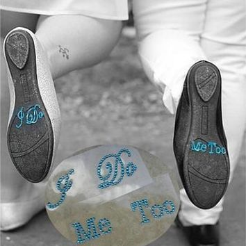I Do Me Too Blue Bridal Rhinestone Shoes Decal Sticker Set Appliques Something Blue Wedding Decoration [7983492935]
