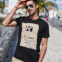 Cotton Spandex Men'S Tshirt Short Sleeve Printing Summer T Shirt Men Black White Men'S T-Shirt Slim Top