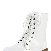 Nature Breeze Gwen-01hi White Patent Vintage Lace Up Combat Boots and Shop Boots at MakeMeChic.com