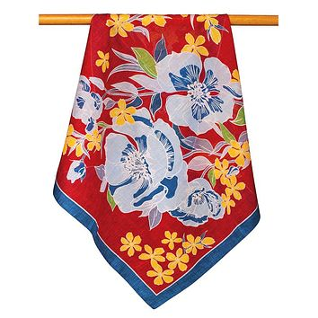 Red Floral Scarf - 4795