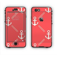 The Coral & White Vintage Solid Color Anchor Linked Apple iPhone 6 Plus LifeProof Nuud Case Skin Set