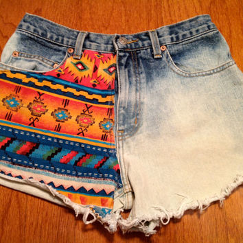 Tribal Geometric Aztec Festival High Waisted Shorts Denim Dip Dyed Hipster Boho ANY SIZE