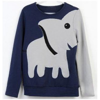 Fun elephant pattern long-sleeved pullover sweaters leisure