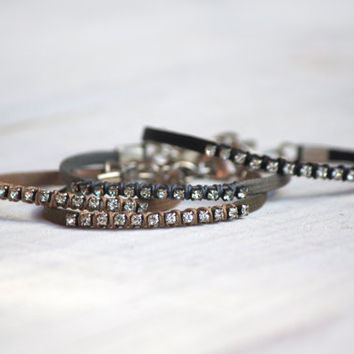 Rhinestone Bracelet ,Trendy Stackable Bracelet , Unique Jewelry for her , Gift for her under 20
