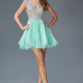 G2151 Jeweled Cap Sleeve Homecoming Cocktail Dress