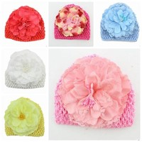 Fashion Sweet Big Flower Baby Girls Kids Hats Cute Knitted Crib Hats
