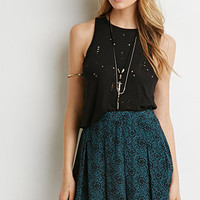 Pleated Mosaic Print Skirt