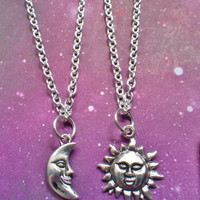 Sun and Moon Best Friend Soul mate necklaces.