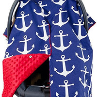 Premium Carseat Canopy Cover / Nursing Cover- Large Nautical Pattern w/ Red Minky   Best Infant Car Seat Canopy, Boy or Girl   Cool/ Warm Weather Car Seat Cover   Baby Shower Gift 4 Breastfeeding Moms