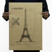 Romantic Paris LA Tour Eiffel Retro Vintage old poster decorative Eiffel Tower painting Art Gallery musemn decoration 51x35.5cm