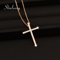 SINLEERY Silver Color Rhinestone Cross Pendant Necklace Chain For Women And Girl Xl402 Free Shipping