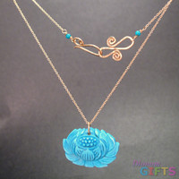 "Turquoise lotus flower on chain, 18"" Necklace Gold Or Silver"