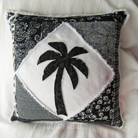 """Quilted patchwork palm tree boho pillow cover, in black and white batiks and wovens on white distressed denim 18"""""""