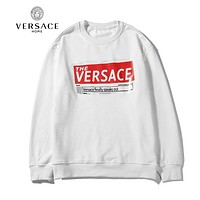 VERSACE Autumn Winter Women Men Print Long Sleeve Sweater Top White