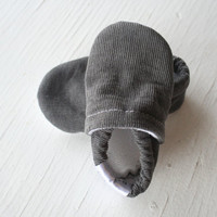 Corduroy Baby Booties boy girl toddler slippers shoes soft soled non slip SWAG Charcoal Grey Gray shower gift newborn infant gender neutral