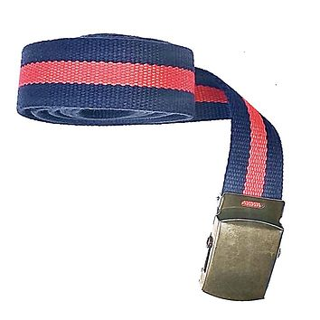 Navy & Red Stripe Cotton Web Military Belt