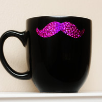Mustache Sparkle Mug  Black with Fuchsia by TheBeautifulHome