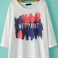 Wet Paint Print Short Sleeve Graphic T-shirt