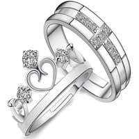 Stylish Jewelry New Arrival Gift Shiny Couple Crown Prince Princess Ring [11107416980]