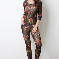 Semi-Sheer Floral Scooped Jumpsuit