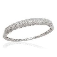 TJC Close Out Deal Diamond Bangle in Platinum Overlay Sterling Silver 1.020 Ct.