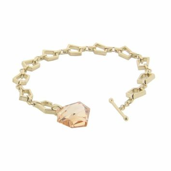 Sterling Silver 18k Gold Plated Prismas Link Bracelet Large Citrine Cz Stone Toggle Clasp    ,  7.5