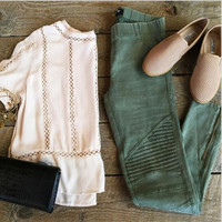 Elastic fold pleated olive green black motorcycle foot pencil pants olive green