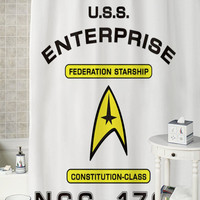 Star Trek NCC-1701 special shower curtains that will make your bathroom adorable.