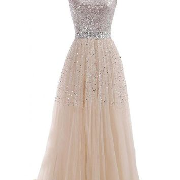 VILAVI Women's A-line Sweetheart Long Tulle Sequin Prom Dresses 12 Champagne