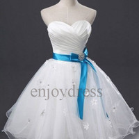 Custom White Satin Tulle Short Prom Dresses Fashion Evening Gowns Wedding Party Dress Formal Party Dress Bridesmaid Dresses 2014 Dress Party