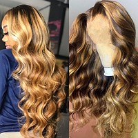 Body Wave Lace Front Wig Brazilian Colored Human Hair Wigs - Honey Blonde Highlight Full Hd Glueless Lace Wigs
