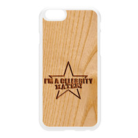 Carved on Wood Effect_Celebrity Hater White Hard Plastic Case for iPhone 6 by Chargrilled