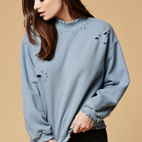 Honey Punch Distressed Mock Neck Sweatshirt at PacSun.com
