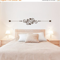 NEW YEARS SALE - Simple Swirl and Leaf Design - Flower and Swirls (Interior & Exterior Available) Above the bed design, Leaf Wall Decal, Swi