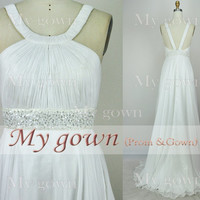 2014 prom dress, Draped Beads White Prom Gown, Dresses, Wedding Dresses ,formal Dress,Evening dress,gown