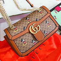 GUCCI & Disney New fashion more letter mouse print chain shoulder bag crossbody bag