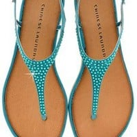 CHINESE LAUNDRY GAME SHOW Teal Crystal T-bar Sandals - SHOES | FLATS | Sandals | PRET-A-BEAUTE.COM