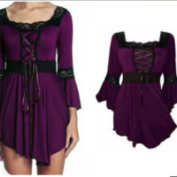 Plus Size Victorian Gothic Sweetheart Bell Sleeves Lace Corset Top T-shirt