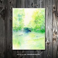 Summertime in Central Park, 8x10, Giclee Print, Art Watercolor Painting by Suisai Genki, Ducks, Green, Park, Lake, Summer, Sunny