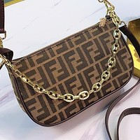 Fendi Fashion New More Letter Print Canvas Handbag Shoulder Bag Crossbody Bag