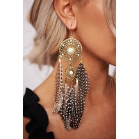 Hailey Dream Catcher Earrings (Brown/Antique Gold)