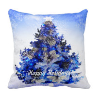 Customizable decorated blue christmas tree pillow