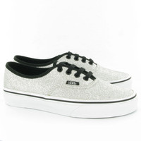 Vans Authentic Glitter Pumps in Silver