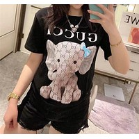 """Gucci"" Women Casual Fashion Letter Pattern Print Short Sleeve Round Neck T-shirt Top Tee"