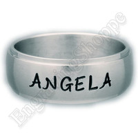 CUSTOM  Couples Ring Name Ring Personalized Ring  HAND STAMPED  Ring Wedding Band Promise Ring Stainless Steel Ring 8mm Tri-Band Silver Ring