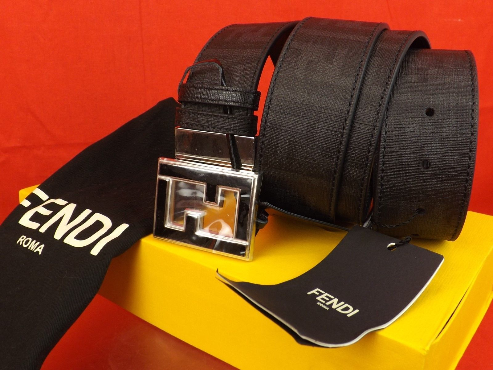Image of NWT FENDI BLACK COLLEGE LEATHER ZUCCA BLACK FF BUCKLE BELT ONE SIZE FITS ALL