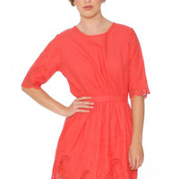 Coral Embroidered Dress
