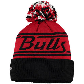 Men's Chicago Bulls New Era Red Fire Cuffed Knit Hat with Pom