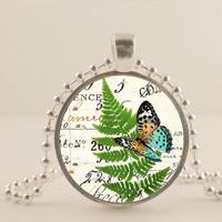 Buttefly and fern  glass and metal Pendant necklace Jewelry.